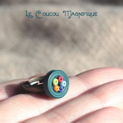 Anello bimba con bottone  e perline - A.21.2015