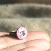 Anello bimba con bottone lilla  e perline - A.22.2015