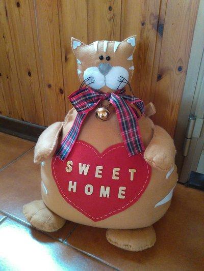 Gatto ferma porta in pannolenci fatto a mano