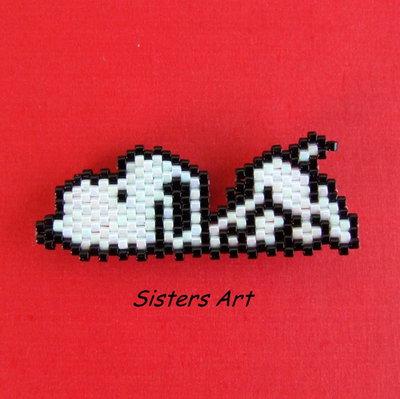 """Calamita """"Snoopy"""" realizzata con perline Miyuki delica"""