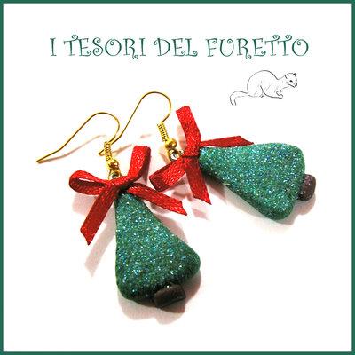 """Orecchini """" Alberi di Natale Glitter Fiocco rosso """" fimo cernit idea regalo bijoux natalizi per lei donna bambina ragazza kawaii"""