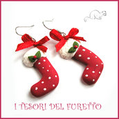 """Orecchini """"Calza della befana rossa pois bianchi i"""" Natale 20135 fimo cernit kawaii idea reagalo bambina ragazza economico"""