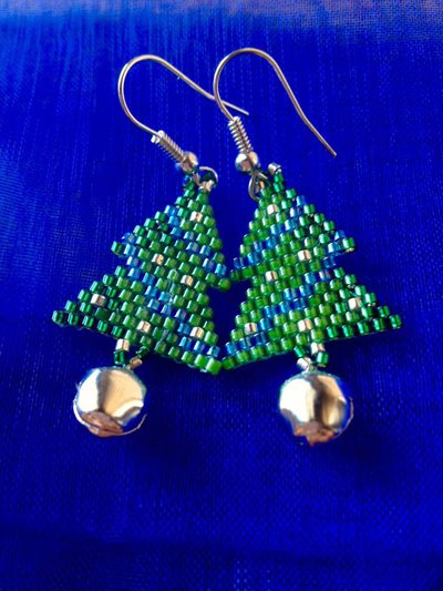 ~ Christmas Earring Silver/Blue ~ Christmas tree Earring ~ Orecchino albero di natale con perline miyuki