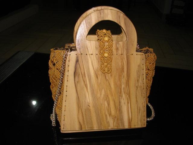 borsa in legno e macrame'
