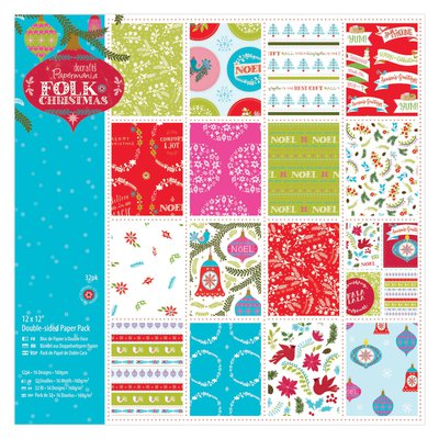 Doubled Sided Paper Pack Linen - Folk Christmas