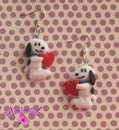 Orecchini Snoopy con il cuore-Orecchini fimo-Snoopy fimo