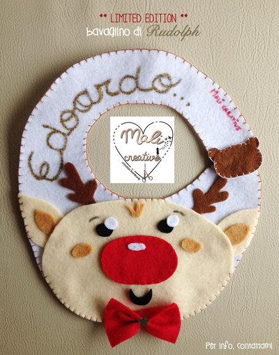 Bavaglino per bimbo/a natalizio Rudolph