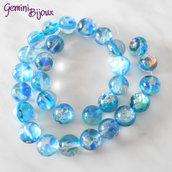 Fila 29 Perle tonde Millefiori azzurre 14 mm.