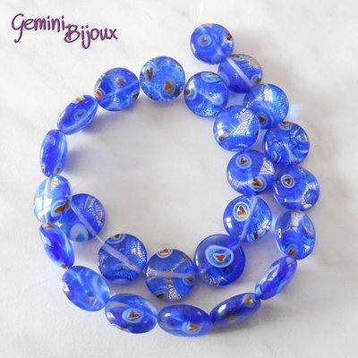 Fila 25 Perle tonde piatte Millefiori blu 15 mm.