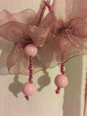Orecchini rosa perline