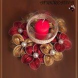 CENTROTAVOLA con fiori rossi e oro