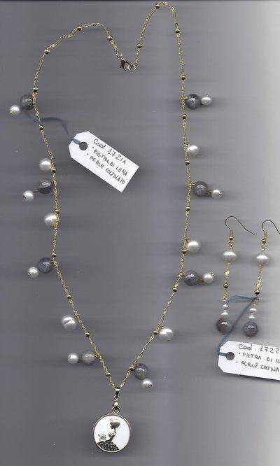 Completo pietra di luna  perle coltivate
