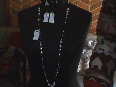 Completo perle coltivate agata nera.