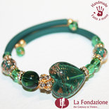Bracciale Valentino color verde in vetro di Murano fatto a mano
