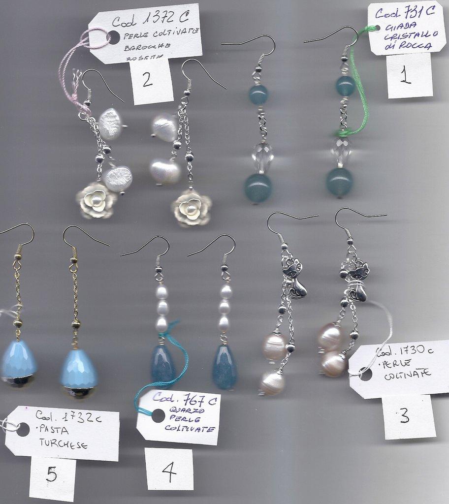 Orecchini fantasia perle pietre dure