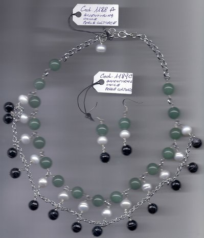 Completo avventurina, onice, perle coltivate