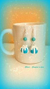 Idea regalo Natale Orecchini in fimo handmade pacchetti regalo azzurri turchese