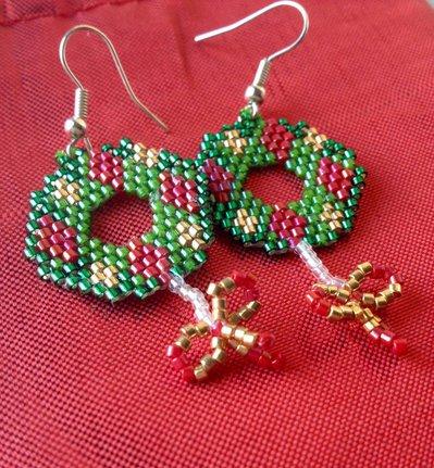 ~ Christmas Earring ~ Earrings / Orecchini natalizi con perline Miyuki / Ghirlanda di Natale