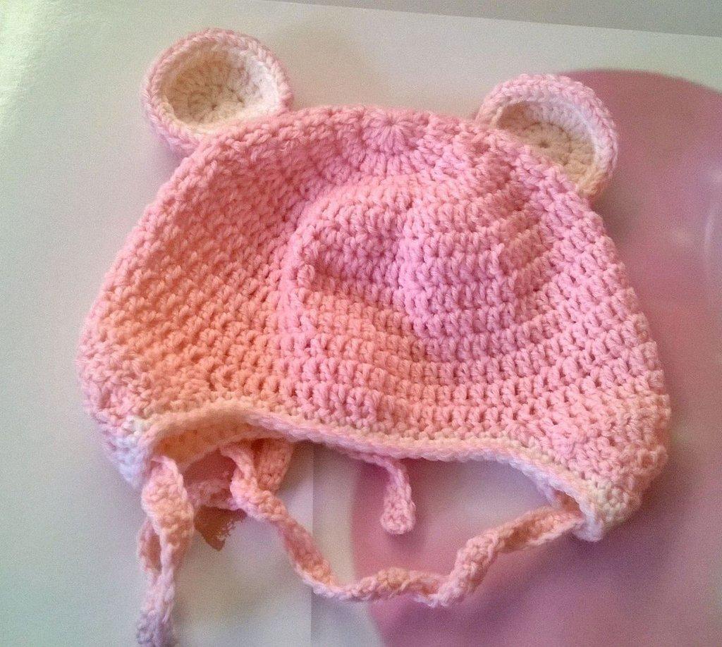Cappellino Orsetto Per Neonati Azzurro O Rosa Fatto A Mano Allun