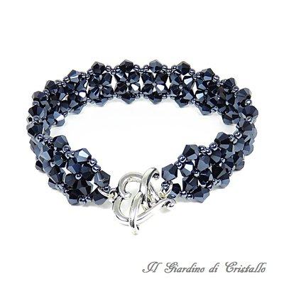Bracciale a fascia nero riflessi ematite con cristalli e perline fatto a mano - Giacinto