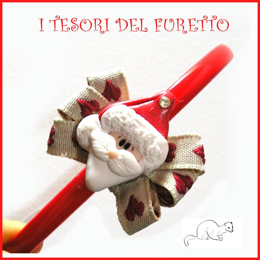 """Cerchietto Natale 2015 """"Babbo Natale"""" fiocco cuori fimo cernit kawaii idea regalo bambina ragazza kawaii"""
