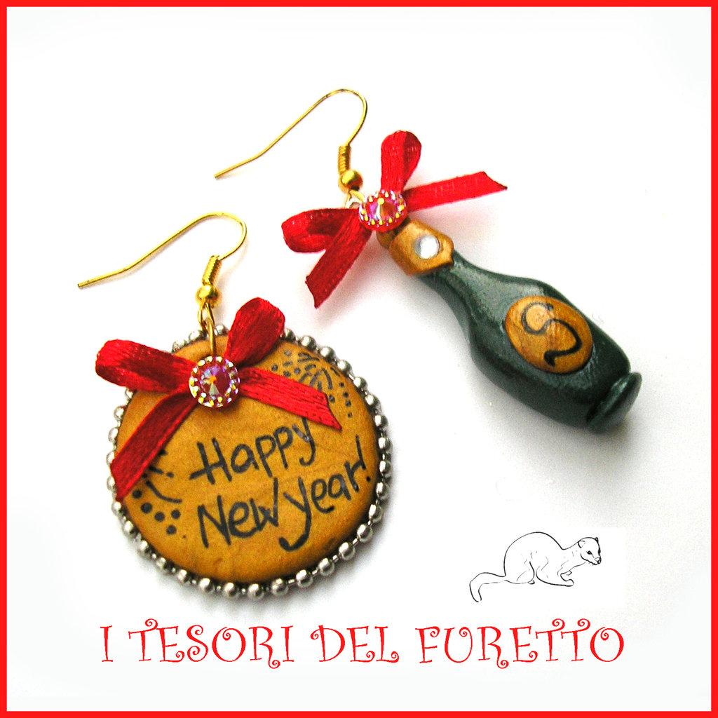 """Orecchini Natale Capodanno """" HAPPY NEW YEAR"""" Spumante champagne bottiglia idea regalo 31 dicembre"""