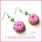 """Orecchini """"Donut Con glassa rosa e zuccherini"""" fimo cernit kawaii ciambellina dolcetti idea regalo donna bambina ragazza"""
