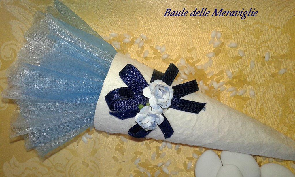 Bomboniera matrimonio o battesimo cono in carta cotone - blu