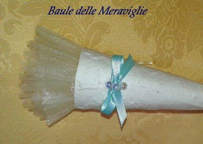 Bomboniera matrimonio cono in carta cotone - tiffany