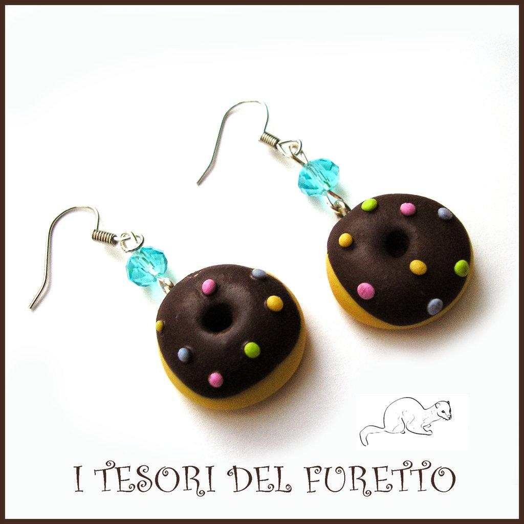 """Orecchini """"Donut al cioccolato con zuccherini colorati""""  fimo cernit kawaii ciambellina dolcetti idea regalo donna bambina ragazza"""
