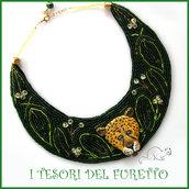 """Collana """" Giaguaro """" perline rocailles fimo cernit collarino pannolenci elegante vistosa verde oro idea regalo donna ragazza regalo"""