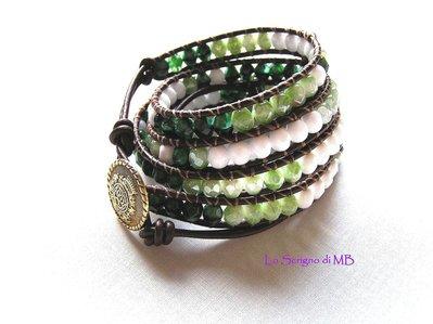 Bracciale Wrap Chan Luu Style con mezzi cristalli bianchi e verdi