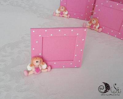 Bomboniera cornice portafoto angioletto bimba rosa con cuoricino