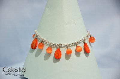 Bracciale con ciondoli - Foglie Arancione