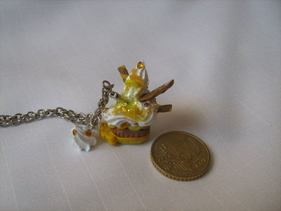 Yellow cupcake Necklace