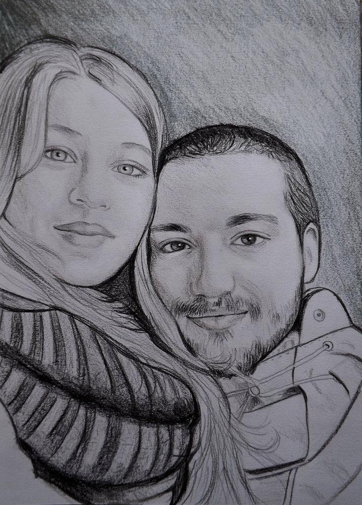 Ritratto su commissione da foto matita su cartoncino regalo san Valentino