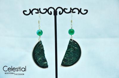 Orecchini Nespresso e perla - Verde smeraldo