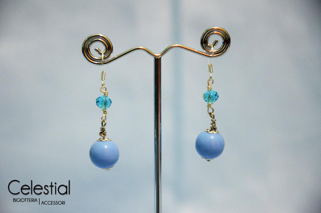 Orecchini Corti Cristallo Cinese - Azzurro