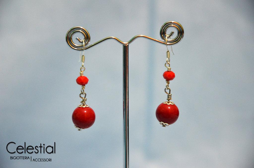 Orecchini Corti Cristallo Cinese - Rosso