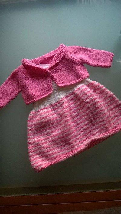 Favoloso Completo bimba abitino smanicato e coprispalle rosa e bianco 6  TU35