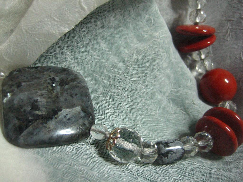Collana labradorite diaspro rosso cristallo rocca ossidiana fiocco neve argento925