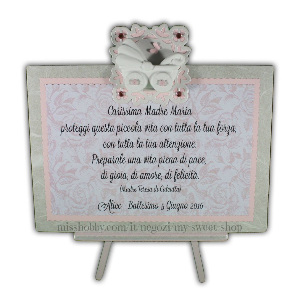 Targhetta con carrozzina versione rosa - regalo battesimo o nascita