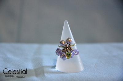 Anello con Biconi e Perle - Provence Lavander