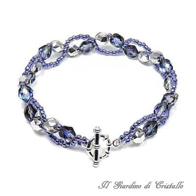 Bracciale mezzi cristalli heliotrope e perline toni blu viola fatto a mano - Gelsomino