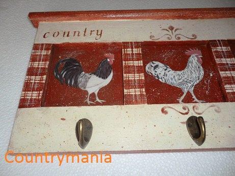 Appendino per cucina con galli stile country