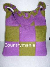 Borsa di lana cotta verde e viola