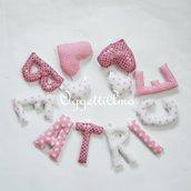 BEATRICE: una ghirlanda di lettere in cotone e lurex a stelle e pois rosa per decorare la sua cameretta