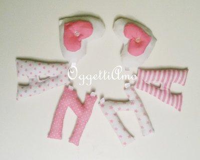 ANNA: una ghirlanda di lettere di stoffa rosa imbottite per decorare con il suo nome la cameretta!
