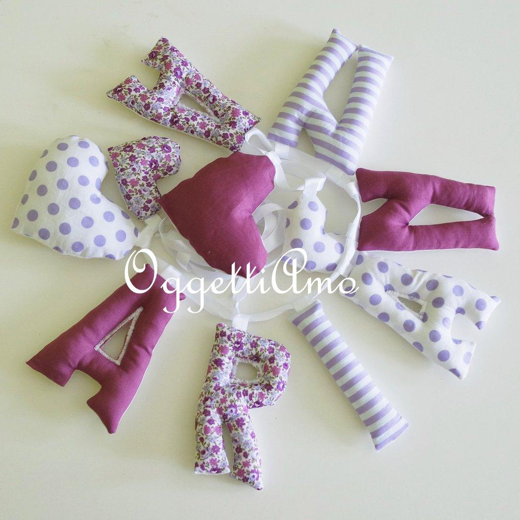 ARIANNA : un nome in lettere di stoffa imbottita come idea regalo per la sua nascita