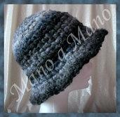 Cappello a cloche - Antracite e perla